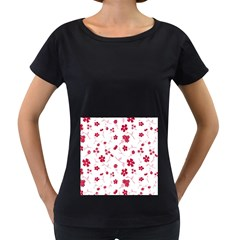 Sweet Shiny Floral Red Women s Loose-Fit T-Shirt (Black)