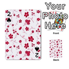 Sweet Shiny Floral Red Playing Cards 54 Designs