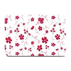 Sweet Shiny Floral Red Plate Mats