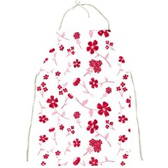 Sweet Shiny Floral Red Full Print Aprons