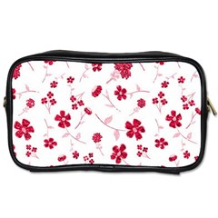 Sweet Shiny Floral Red Toiletries Bags 2 Side