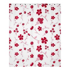 Sweet Shiny Floral Red Shower Curtain 60  x 72  (Medium)
