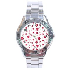 Sweet Shiny Floral Red Stainless Steel Men s Watch