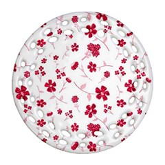 Sweet Shiny Floral Red Round Filigree Ornament (2Side)