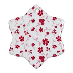 Sweet Shiny Floral Red Snowflake Ornament (2-Side)