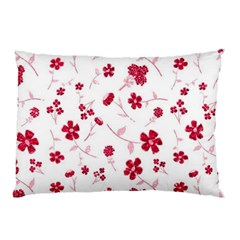 Sweet Shiny Floral Red Pillow Cases (Two Sides)