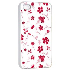 Sweet Shiny Floral Red Apple iPhone 4/4s Seamless Case (White)