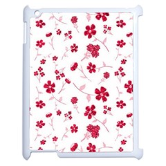 Sweet Shiny Floral Red Apple Ipad 2 Case (white)
