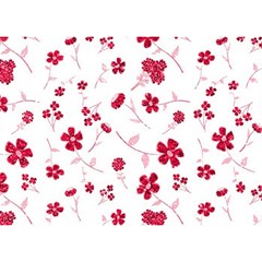 Sweet Shiny Floral Red Birthday Cake 3D Greeting Card (7x5)