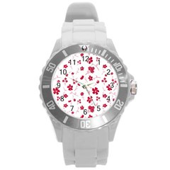 Sweet Shiny Floral Red Round Plastic Sport Watch (l)