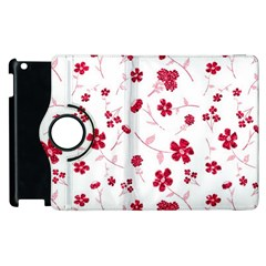Sweet Shiny Floral Red Apple Ipad 2 Flip 360 Case