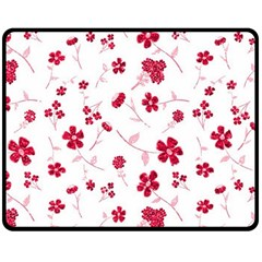 Sweet Shiny Floral Red Double Sided Fleece Blanket (Medium)