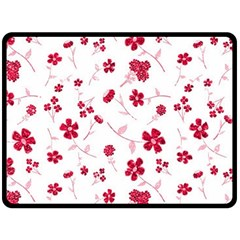 Sweet Shiny Floral Red Double Sided Fleece Blanket (Large)