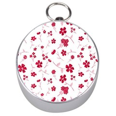 Sweet Shiny Floral Red Silver Compasses