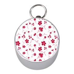 Sweet Shiny Floral Red Mini Silver Compasses