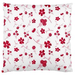 Sweet Shiny Floral Red Large Flano Cushion Cases (one Side)