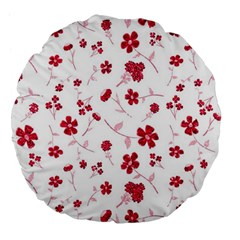 Sweet Shiny Floral Red Large 18  Premium Flano Round Cushions