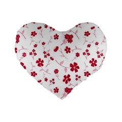 Sweet Shiny Floral Red Standard 16  Premium Flano Heart Shape Cushions