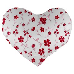 Sweet Shiny Floral Red Large 19  Premium Flano Heart Shape Cushions