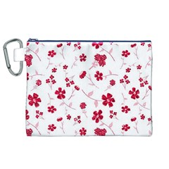 Sweet Shiny Floral Red Canvas Cosmetic Bag (xl)