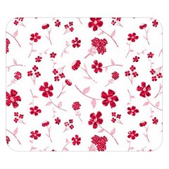 Sweet Shiny Floral Red Double Sided Flano Blanket (Small)
