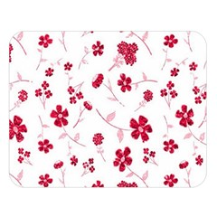 Sweet Shiny Floral Red Double Sided Flano Blanket (large)