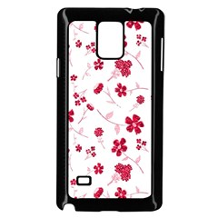 Sweet Shiny Floral Red Samsung Galaxy Note 4 Case (black)