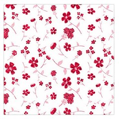 Sweet Shiny Floral Red Large Satin Scarf (Square)
