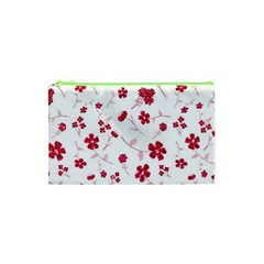 Sweet Shiny Floral Red Cosmetic Bag (XS)