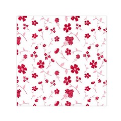 Sweet Shiny Floral Red Small Satin Scarf (Square)