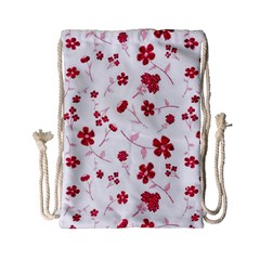 Sweet Shiny Floral Red Drawstring Bag (Small)