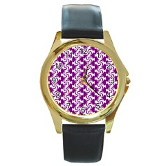 Candy Illustration Pattern Round Gold Metal Watches