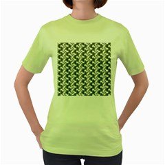 Candy Illustration Pattern Women s Green T Shirt