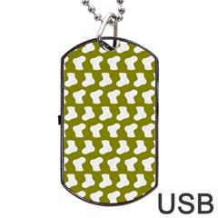 Cute Baby Socks Illustration Pattern Dog Tag USB Flash (One Side)