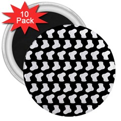 Black And White Cute Baby Socks Illustration Pattern 3  Magnets (10 Pack)