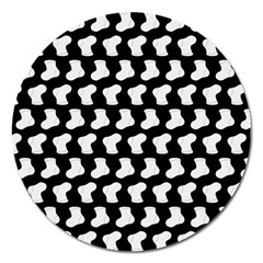 Black And White Cute Baby Socks Illustration Pattern Magnet 5  (round)
