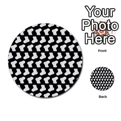 Black And White Cute Baby Socks Illustration Pattern Multi-purpose Cards (Round)