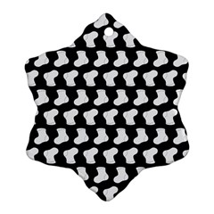 Black And White Cute Baby Socks Illustration Pattern Snowflake Ornament (2-Side)