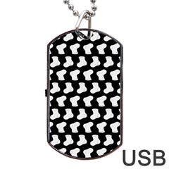 Black And White Cute Baby Socks Illustration Pattern Dog Tag USB Flash (One Side)
