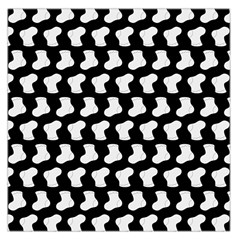 Black And White Cute Baby Socks Illustration Pattern Large Satin Scarf (Square)