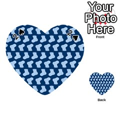 Blue Cute Baby Socks Illustration Pattern Playing Cards 54 (Heart)