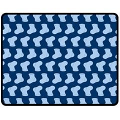 Blue Cute Baby Socks Illustration Pattern Fleece Blanket (medium)