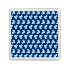 Blue Cute Baby Socks Illustration Pattern Memory Card Reader (square)