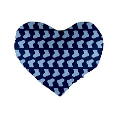 Blue Cute Baby Socks Illustration Pattern Standard 16  Premium Heart Shape Cushions