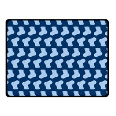 Blue Cute Baby Socks Illustration Pattern Double Sided Fleece Blanket (Small)