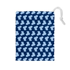 Blue Cute Baby Socks Illustration Pattern Drawstring Pouches (large)
