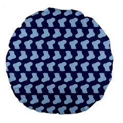 Blue Cute Baby Socks Illustration Pattern Large 18  Premium Flano Round Cushions