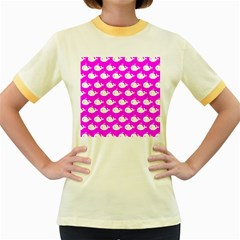 Cute Whale Illustration Pattern Women s Fitted Ringer T Shirts