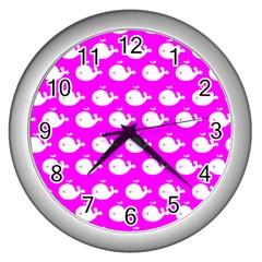 Cute Whale Illustration Pattern Wall Clocks (silver)