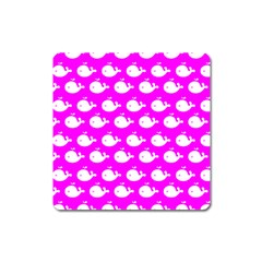 Cute Whale Illustration Pattern Square Magnet